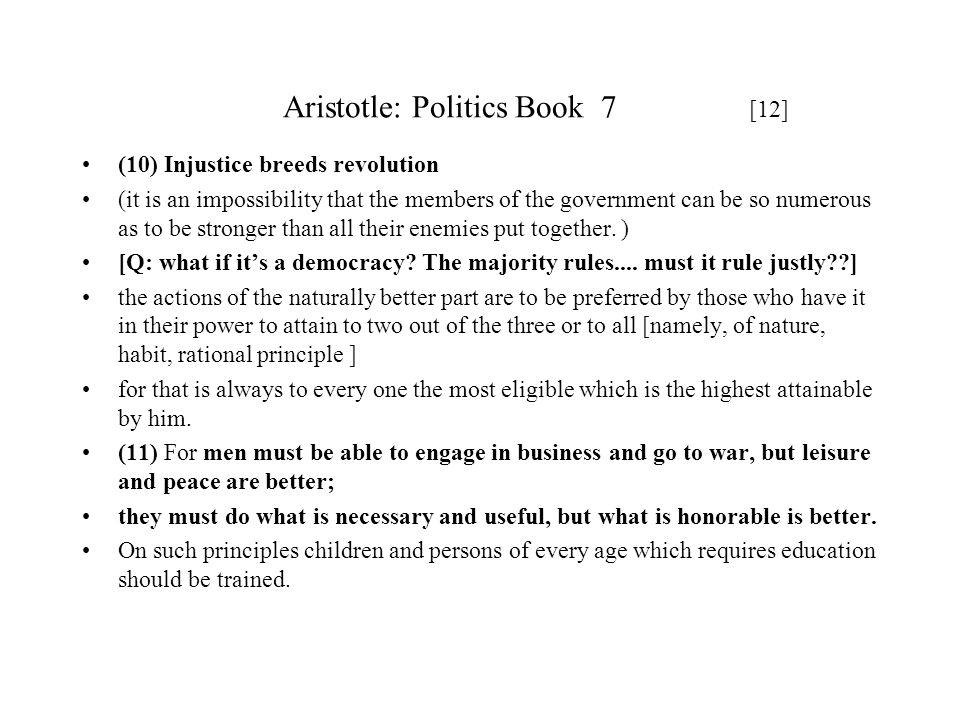 Aristotle: Politics Book 7 [12]